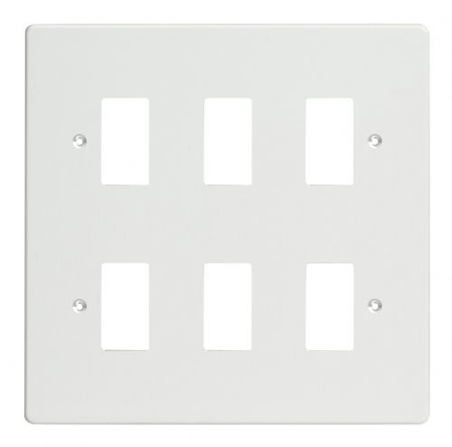 Varilight XDQPG6 PowerGrid Premium White 6 Gang Grid Plate (Double Twin Plate)